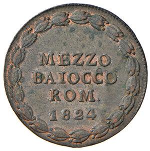 reverse: Bologna. Leone XII (1823-1829). Mezzo baiocco romano 1824 anno I CU. Pagani 119. Chimienti 1265. Iridescenze rosse, q.FDC