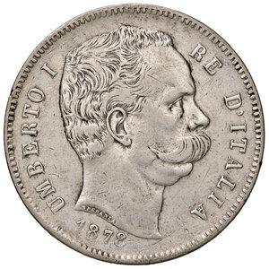 obverse: Savoia. Umberto I re d Italia (1878-1900). Da 5 lire 1878 AG. Pagani 589. Molto rara. q.BB/BB