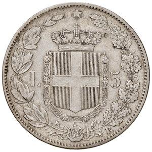 reverse: Savoia. Umberto I re d Italia (1878-1900). Da 5 lire 1878 AG. Pagani 589. Molto rara. q.BB/BB