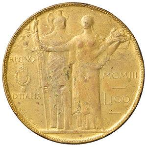 reverse: Savoia. Vittorio Emanuele III re d Italia (1900-1946). Da 100 lire 1903 AE dorato. Progetto Stabilimenti Johnson. Pagani Prove 139. Colpetto alle ore 2 del dr. e del rov., altrimenti buon BB