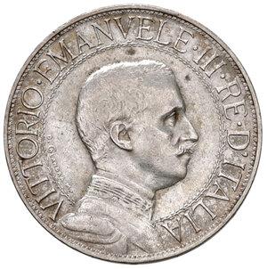obverse: Savoia. Vittorio Emanuele III re d Italia (1900-1946). Da 2 lire 1911 AG. Pagani 734. Molto rara. Impercettibile colpetto sul ciglio alle ore 12, altrimenti migliore di BB
