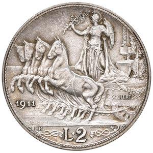 reverse: Savoia. Vittorio Emanuele III re d Italia (1900-1946). Da 2 lire 1911 AG. Pagani 734. Molto rara. Impercettibile colpetto sul ciglio alle ore 12, altrimenti migliore di BB