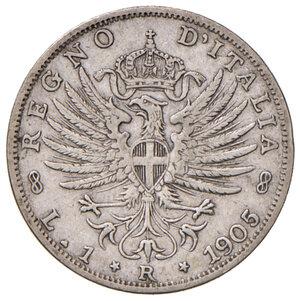 reverse: Savoia. Vittorio Emanuele III re d Italia (1900-1946). Lira 1905 AG. Pagani 765. Molto rara. BB
