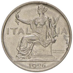 obverse: Savoia. Vittorio Emanuele III re d Italia (1900-1946). Buono da 1 lira 1926 per numismatici NI. Tiratura di 500 esemplari. Pagani 779. Rara. Impercettibile traccia di corrosione nel campo del dr., altrimenti FDC