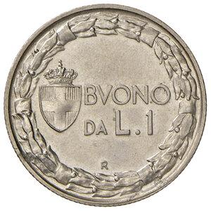 reverse: Savoia. Vittorio Emanuele III re d Italia (1900-1946). Buono da 1 lira 1926 per numismatici NI. Tiratura di 500 esemplari. Pagani 779. Rara. Impercettibile traccia di corrosione nel campo del dr., altrimenti FDC