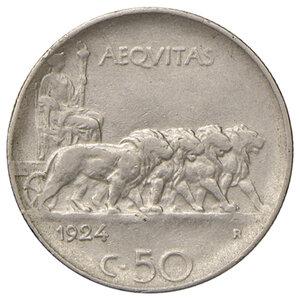 reverse: Savoia. Vittorio Emanuele III re d Italia (1900-1946). Da 50 centesimi 1924 rigato NI. Pagani 805. Rara. BB