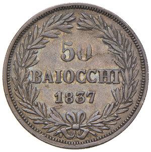 reverse: Bologna. Gregorio XVI (1831-1846). Da 50 baiocchi 1837 anno VII AG. Pagani 160. Chimienti 1302. Rara. BB