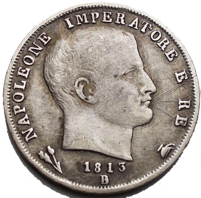 obverse: Bologna. Napoleone I. 1 lira 1813 Ag. Segni. Molto Rara