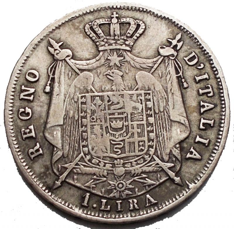 reverse: Bologna. Napoleone I. 1 lira 1813 Ag. Segni. Molto Rara