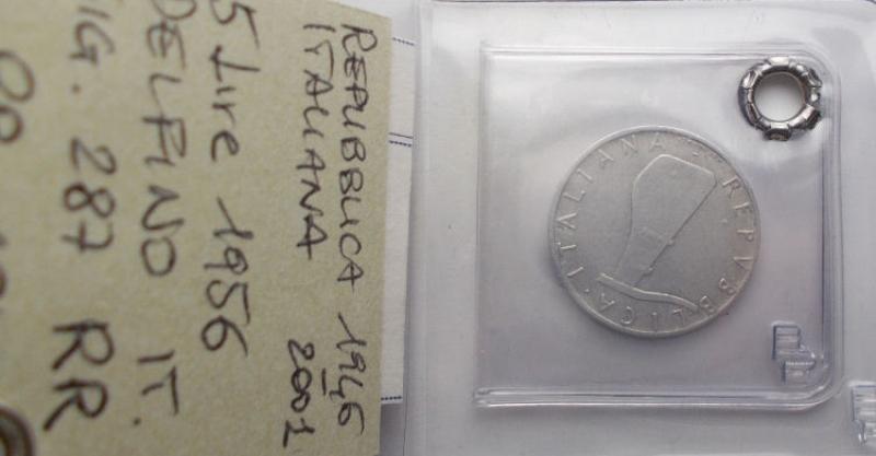 reverse: Repubblica Italiana. 5 Lire 1956.  Montenegro 10. BB-qSPL. Molto raro. Sigillato