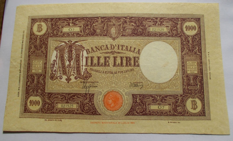 obverse: 1000 LIRE BARBETTI GRANDE M TESTINA FASCIO II TIPO 06/02/1943 Buone condizioni