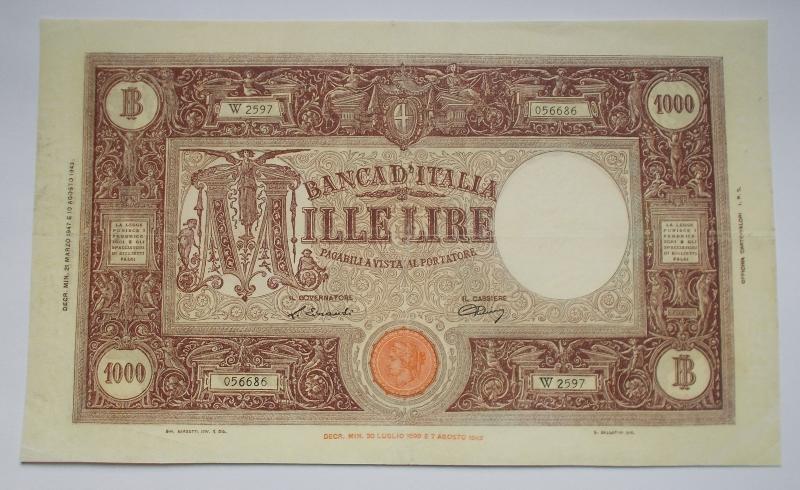 obverse: REPUBBLICA ITALIANA.1000 lire Grande M. Decr. 21/03/1947 Firme Einaudi / Urbini