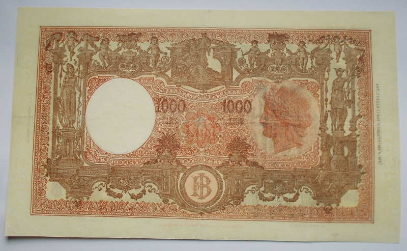 reverse: REPUBBLICA ITALIANA.1000 lire Grande M. Decr. 21/03/1947 Firme Einaudi / Urbini