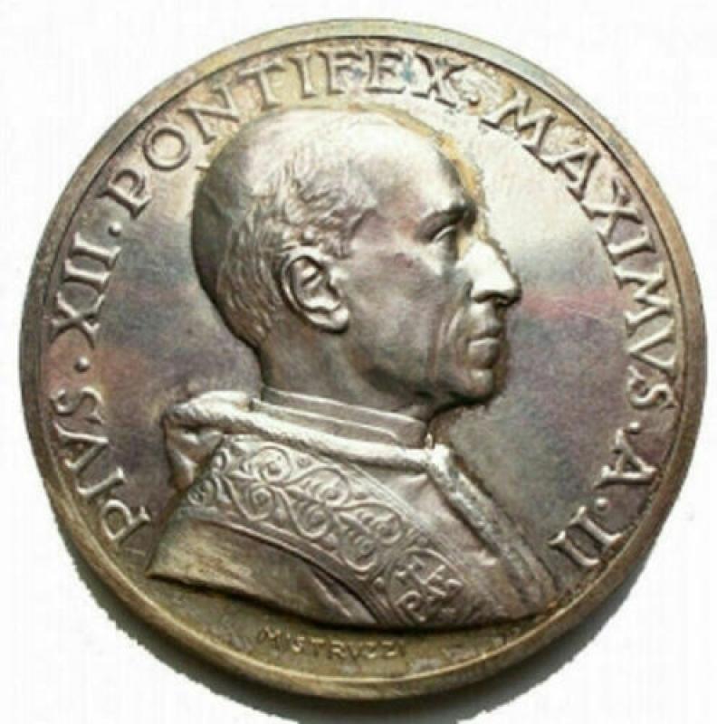 obverse: Medaglie - Pio XII medaglia A.II° Ag Opus Mistruzzi. Ag