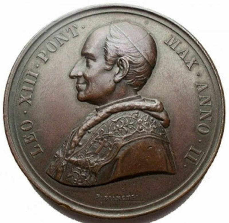 obverse: Medaglie - Leone XIII. Medaglia Annuale Ae Anno II 1879. Segnetti. Spl+