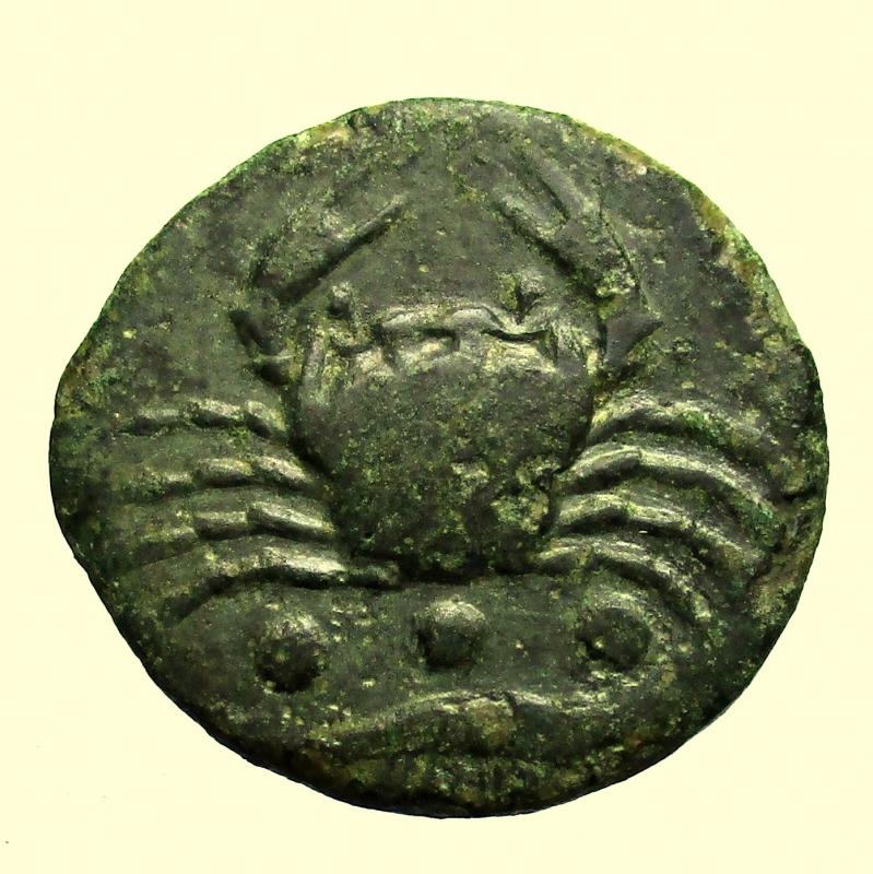 reverse: Mondo Greco Sicilia. Akragas.  Tetras o Trionkion 425-410 a.C.