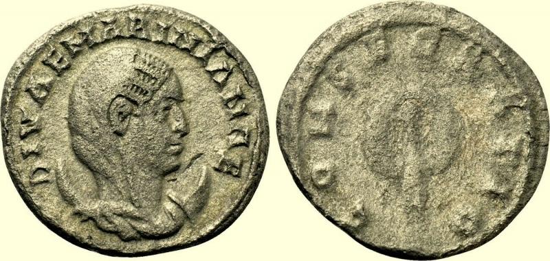obverse: Impero Romano. Diva Mariniana. Moglie di Valeriano. Morta circa 253 d.C.