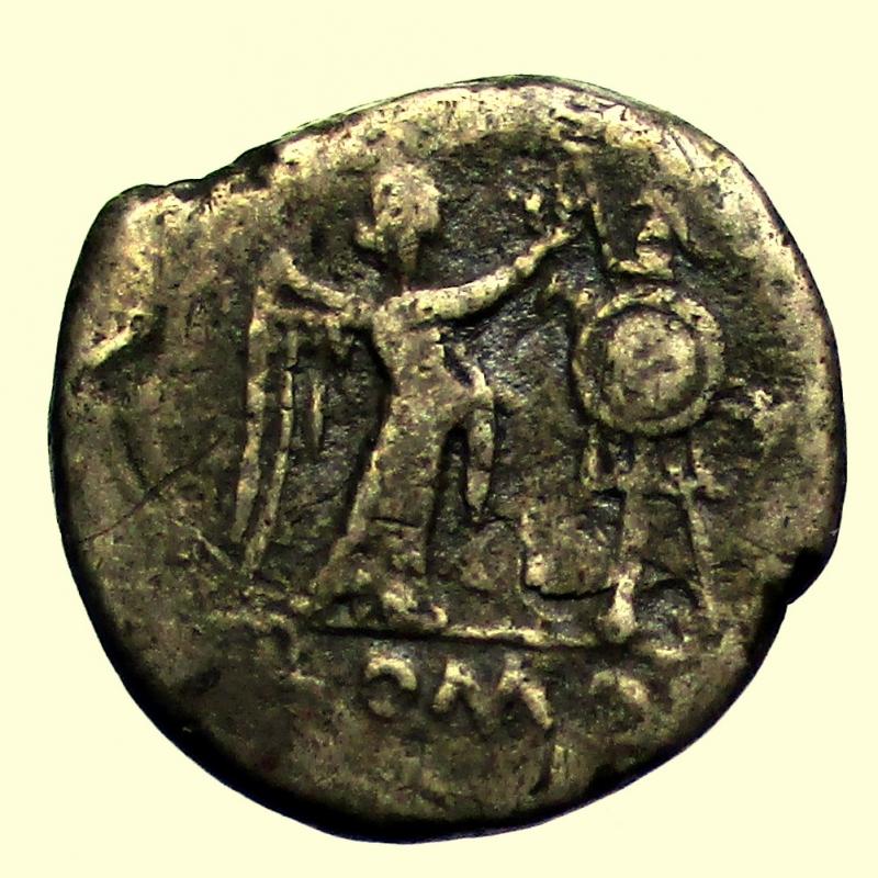 reverse: Repubblica Romana. Dopo il 211 a.C. Vittoriato. Ag.
