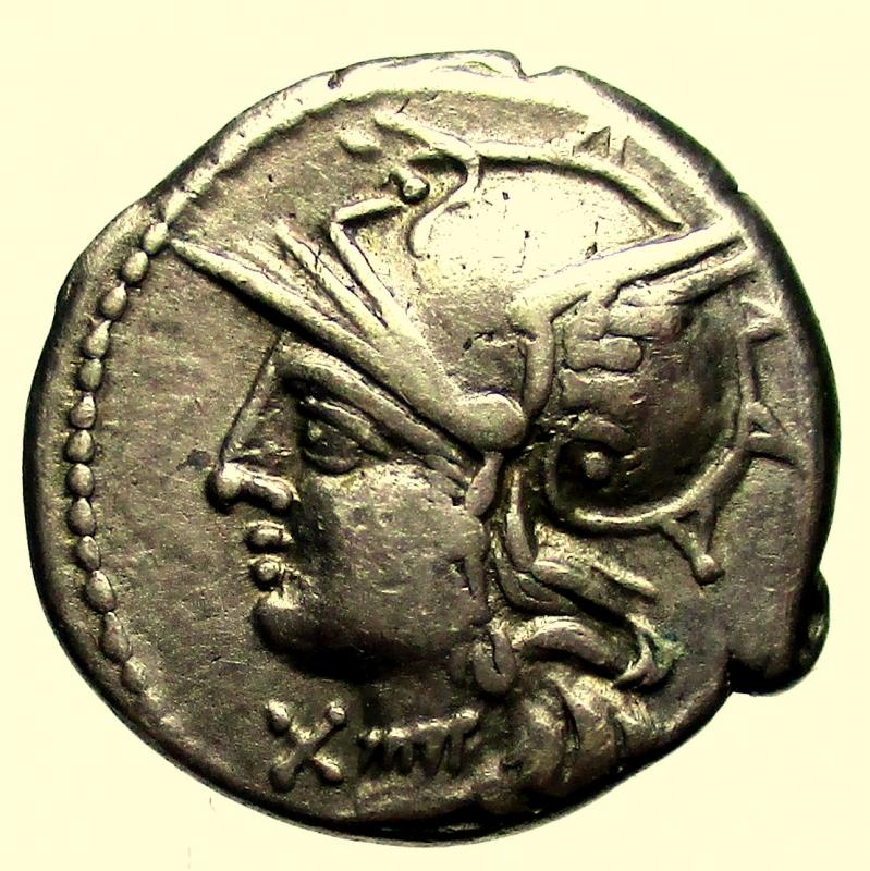 obverse: Repubblica Romana. Gens Baebia. M.Baebius Q.f.Tampilus.137 a.C. Denario.