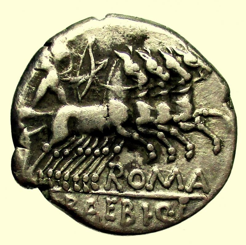 reverse: Repubblica Romana. Gens Baebia. M.Baebius Q.f.Tampilus.137 a.C. Denario.