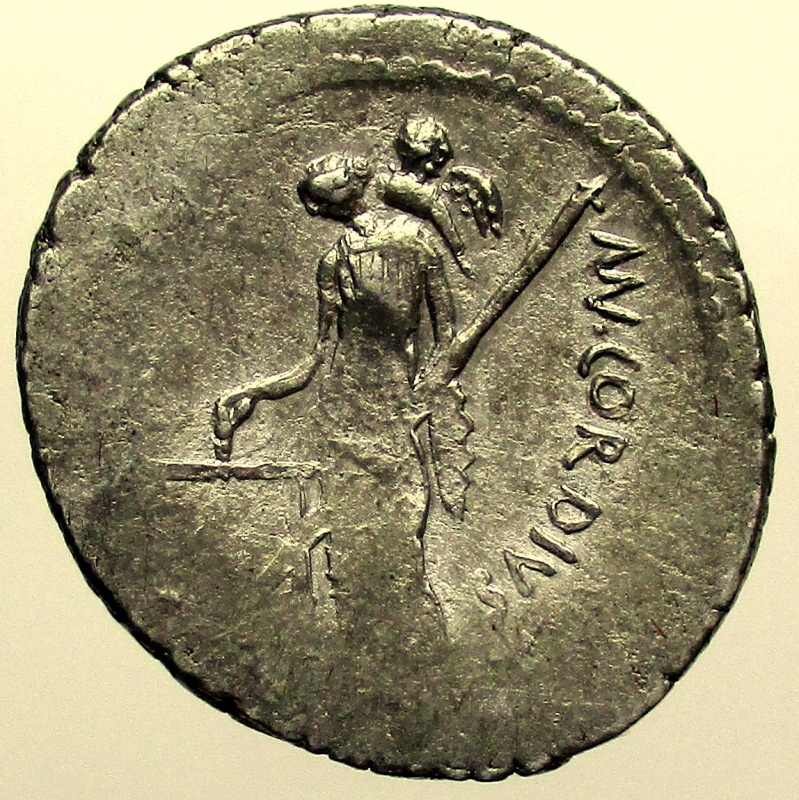 reverse: Repubblica Romana. Mn. Cordius Rufus, Denario, Roma, 46 a.C.