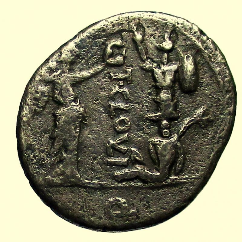 reverse: Repubblica Romana. Gens Cloulia. Titus Cloulius. 38 a.C. Quinario.