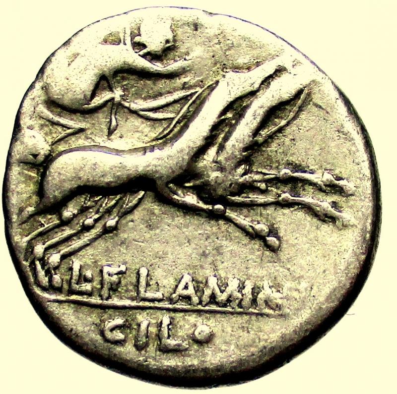 reverse: Repubblica Romana. Gens Flaminia. Lucius Flaminius Chilo. 109-108 a.C. Denario. Ag.