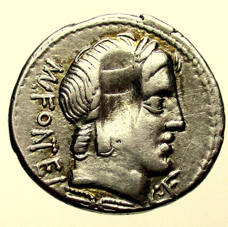 obverse: Repubblica Romana. Gens Fonteia. Mn. Fonteius. ca 85 a.C. Denario.