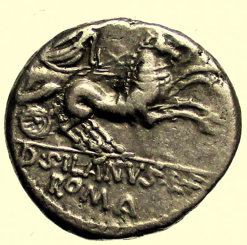 reverse: Repubblica Romana - Gens Junia. D Junius Silanus LF. 91 a.C. Denario.