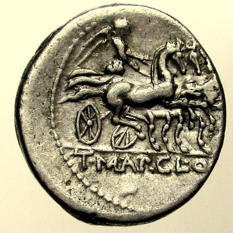 reverse: Repubblica Romana. T. Mallius Mancinus Denario