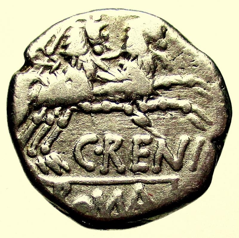 reverse: Repubblica Romana. Gens Renia. Caius Renius. 138 a.C. Denario.