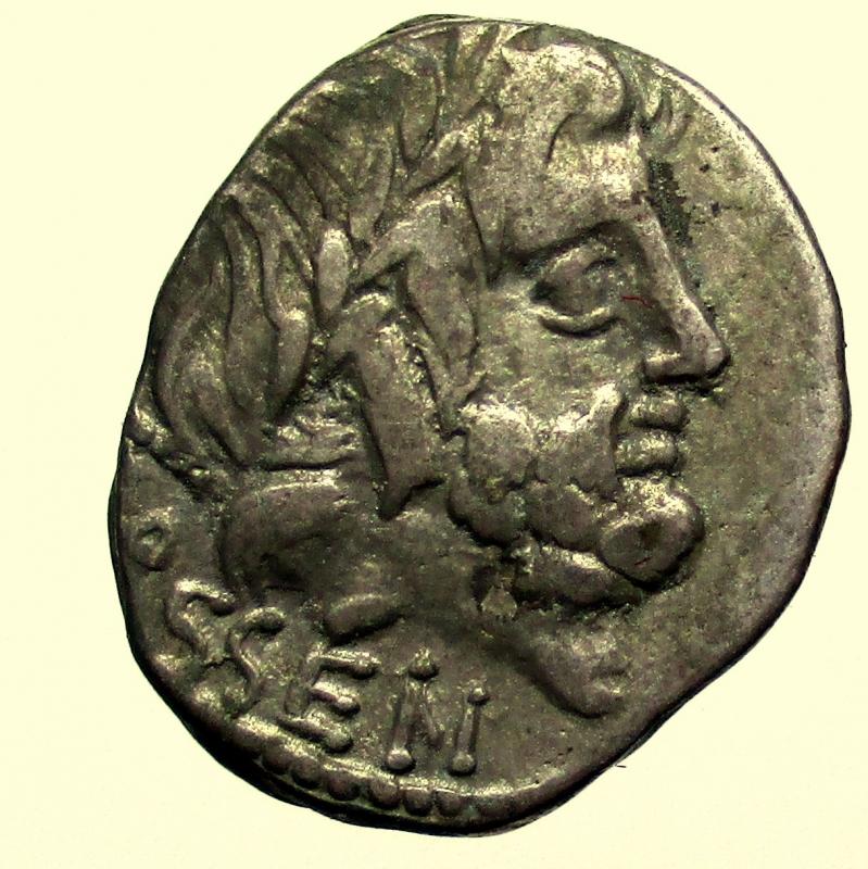 obverse: Repubblica Romana. Gens Rubria. Lucius Rubrius Dossenus. 87 a.C. Denario.