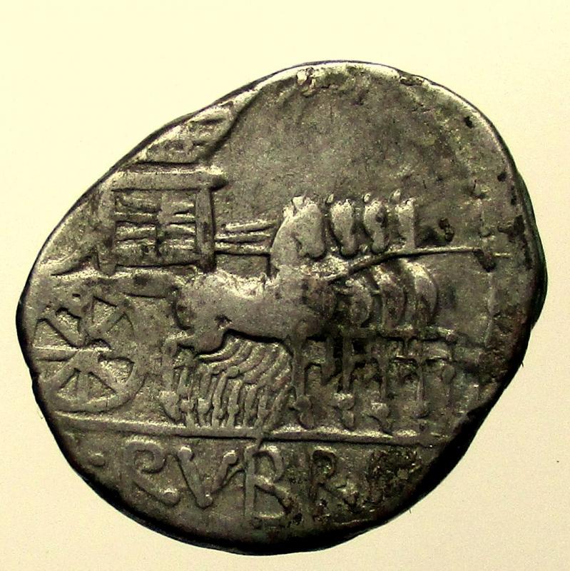 reverse: Repubblica Romana. Gens Rubria. Lucius Rubrius Dossenus. 87 a.C. Denario.