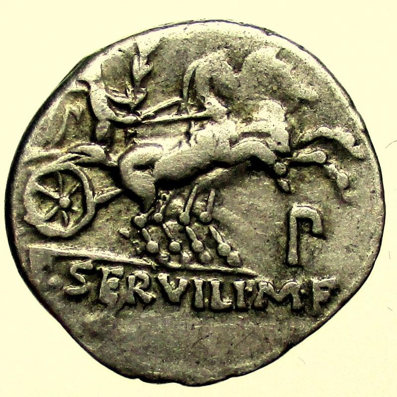 reverse: Repubblica Romana. Gens Servilia. Publius Servilius Rullus. 100 a.C. Denario.