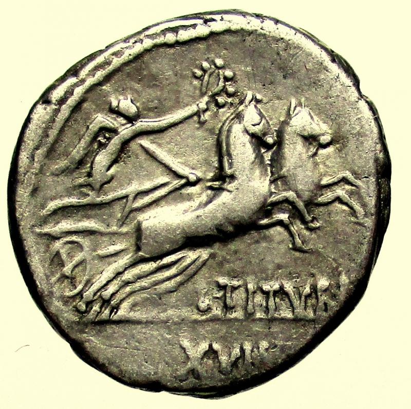 reverse: Repubblica Romana. L. Titurius L.f. Sabinus. 89 B.C.
