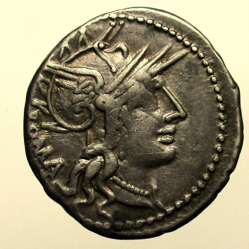 obverse: Repubblica Romana. Gens Tullia. Marcus Tullius. 120 a.C. Denario.