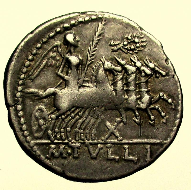 reverse: Repubblica Romana. Gens Tullia. Marcus Tullius. 120 a.C. Denario.