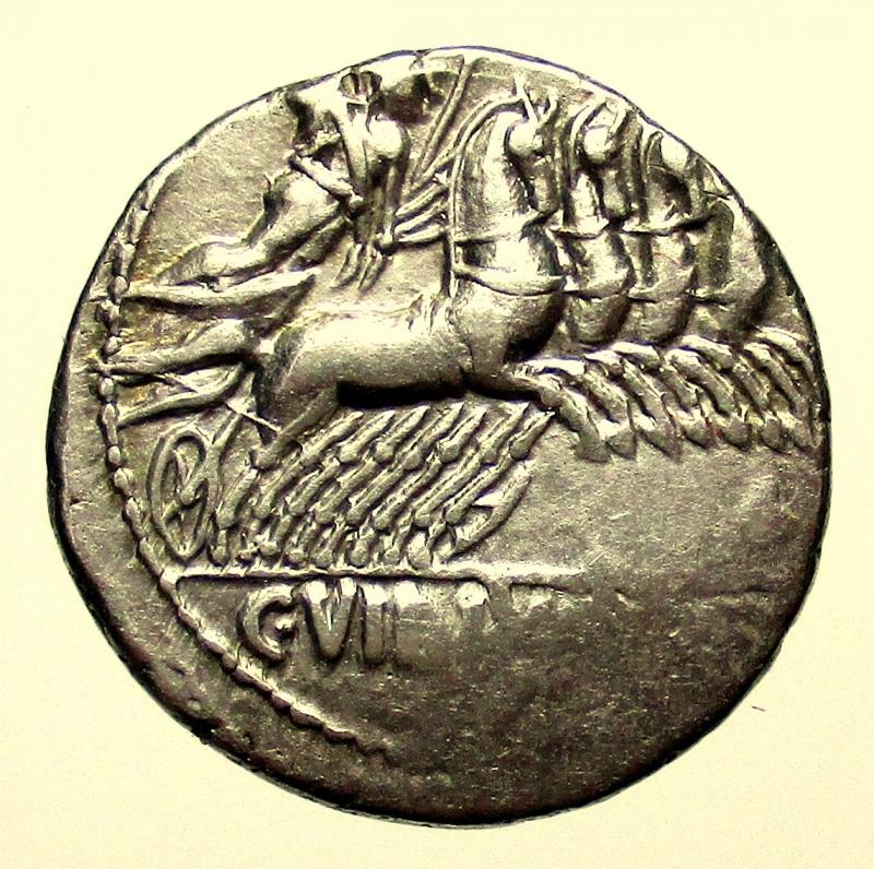 reverse: Repubblica Romana. Gens Vibia. Caius Vibius Pansa. 90 a.C. Denario.