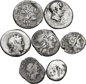 obverse: The Roman Republic. Multiple lot of seven (7) unclassified AR coins