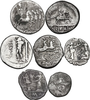 reverse: The Roman Republic. Multiple lot of seven (7) unclassified AR coins