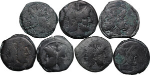 obverse: The Roman Republic. Lot of seven (7) unclassified AE Asses