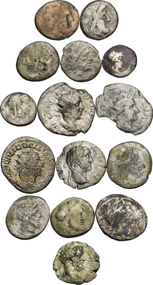 obverse: Roman Republic and Roman Empire.. Multiple lot of fifteen (15) unclassified AR coins