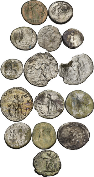 reverse: Roman Republic and Roman Empire.. Multiple lot of fifteen (15) unclassified AR coins