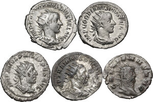 obverse: The Roman Empire. Lot of five (5) unclassified AR and BI coins