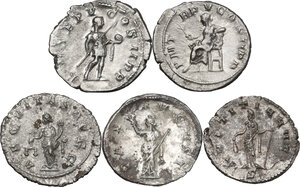 reverse: The Roman Empire. Lot of five (5) unclassified AR and BI coins