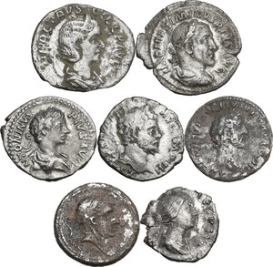 obverse: The Roman Empire. Lot of seven (7) unclassified AR coins