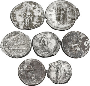 reverse: The Roman Empire. Lot of seven (7) unclassified AR coins