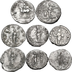 reverse: The Roman Empire. Multiple lot of eight (8) unclassified AR Denarii