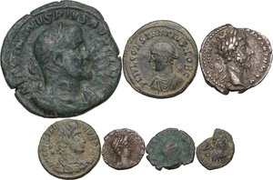 obverse: The Roman Empire.. Multiple lot of seven (7) unclassified coins: including Valentinian III and Leo I