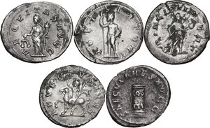reverse: The Roman Empire.. Multiple lot of five (5) unclassified AR Antoninianii